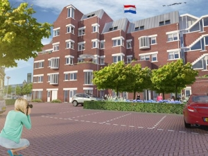 Achtergevel Duurzame appartementen De Klanderij te Leeuwarden