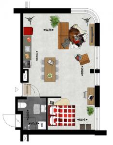 Studio Type 1 Duurzame appartementen De Klanderij te Leeuwarden
