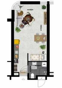 Studio Type 2 Duurzame appartementen De Klanderij te Leeuwarden